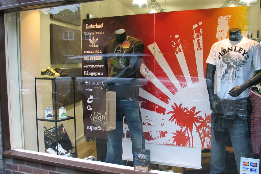 Retail Window Displays. Backdrop posters, window vinyls and promotional items