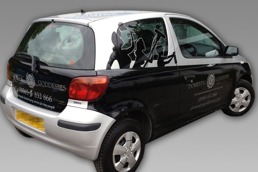Partial Vehicle Wrap. Silver bodywoork complimented by black Avery vehicle wrap vinyl. Silver vinyl detail. Contravision window vinyls allow passengers to see through graphics from within.